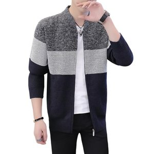 Mens M-3XL Цвет Блок Полосатый с длинным рукавом свитера кардигана вскользь Streetwear Вязаные свитера Винтажная Осень Zip Sweatercoat