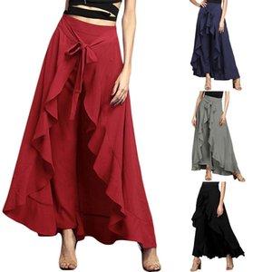 Mujer Varios color sólido irregular volante con cordones de alta cintura largo oscilación grande Pantskirt Damas volante delgado pantalones falda