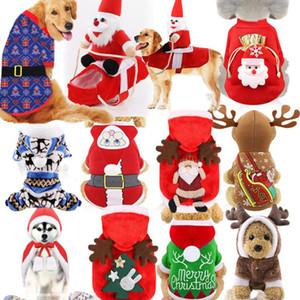 Manteau pour chien d'hiver avec des chapeaux Réchauffez Toison d'Elk Père Noël pour animaux à capuche Jumpsuit doux Cozy chiot de Noël Vêtements de Noël Vêtements Chat