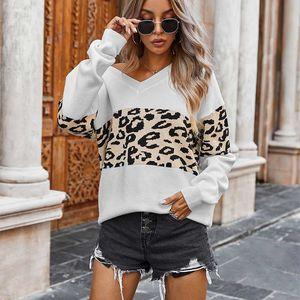 Frauen nähen Pullover wiesen V-Ansatz losen beiläufigen Herbst Winter Tops Frau Langärmliges Strickpullover Leopard Pullover