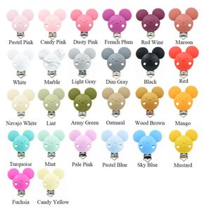 20 PCS Mouse Baby Pacifier Clips BPA Free Silicone Nipple Holder Grade Baby Teething DIY Toys Teether Cartoon Animal Clip