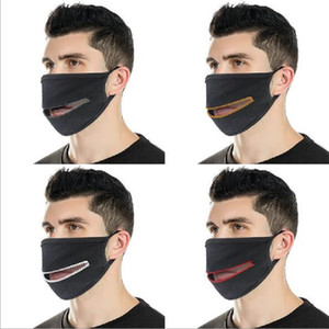 Moda Yaratıcı Fermuar Yüz Maskeleri Fermuar Tasarım Kolay Yıkanabilir Yeniden kullanılabilir Örtü Koruyucu Pamuk Tasarımcı Maskeler İçki için