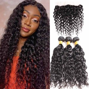 Malaysian Malasian Water Wave 3 Bundles with lace frontal Ocean wave hair extension bouncy curly weave bundles wet and wavy human hairs