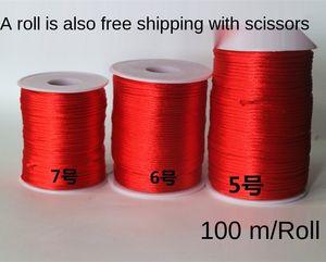 4bFsp Chinese Diy Stahl chinesischer Knoten Stahldraht rot rote Linie Hand Seil DIY Handarbeit 5 6 7 Linie knot Drahtlitzenseil Diamanten