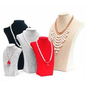 New Velvet Portrait Necklace Display Rack Stand Holder Jewelry Display Jewelry Mannequin Bust Pendant Necklace Window Displa