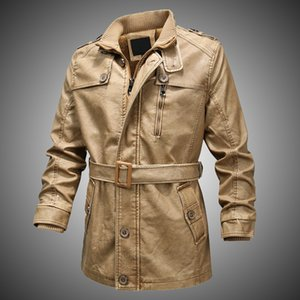Fashion Winter Leather Jacket Men Outdoor Motorcycle Jackets 2020 Men's Plus Velvet Warm Faux Leather Coats Casual Pu Outerwear