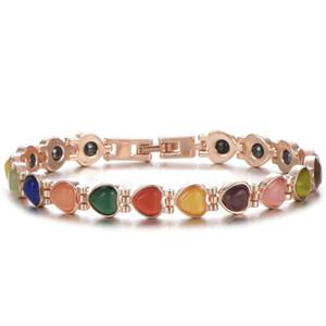 Mulheres Moda Jóias Saúde Magnet embutimento Cadeia Pulseira de Ouro Coração cortado Opal de tênis pulseiras para as Mulheres presente Jóias
