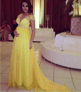 Cheap Bright Yellow Short Sleeves Chiffon Long Evening Dresses For Pregnant Maternity Women Formal Party Prom Gowns Empire Bead Crystal Sash