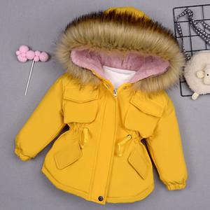 OLEKID 2020 Outono Inverno Denim Jacket For Girls Aqueça casaco com capuz Crianças Jeans Casacos 1-7 Anos Crianças Baby Girl Parka da criança