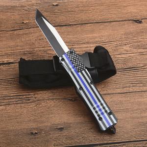 Top qualité Pavillon Bleu Poignée A161 Autao Couteau tactique 440C Two Tone Tanto point lame alliage Zn-Al poignée Couteaux EDC avec sac en nylon