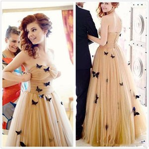 3D Butterfly Applique Prom Dresses Champagne Ruffles Strapless Evening Gowns Soft Tulle Cocktail Women Formal Party Dress Floor Length