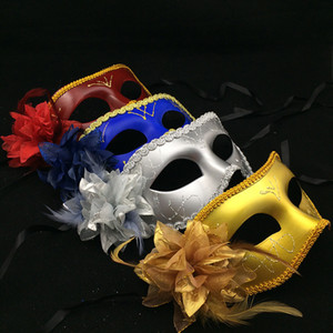 Las mujeres atractivas de la máscara media mascarilla de las máscaras de disfraces con máscaras de disfraces flor de la pluma máscaras de Halloween del traje de Cosplay de envío gratuito HHD1629