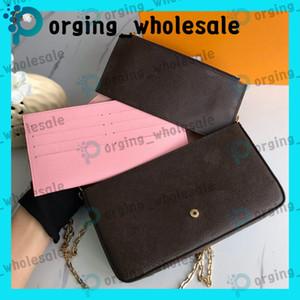 trois pièces costume sac à main Brown lettre fleur de mode en cuir véritable chaîne Sacs à bandoulière Sac à main Mini Porte-monnaie Porte-cartes Sacs de mode LE01