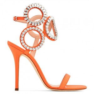 New Round Rhinestone Circle Patched Women Sandals Stiletto High Heels Open Toe Pumps Summer Gladiator Ladies Crystal Party Shoes
