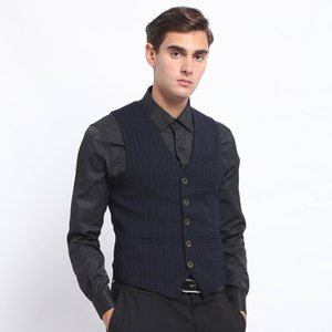 New Men's Plaid vest Navy Suits Vest Formal Business Slim Fit Modern Fit Waistcoat Groomsmen Coat For Wedding
