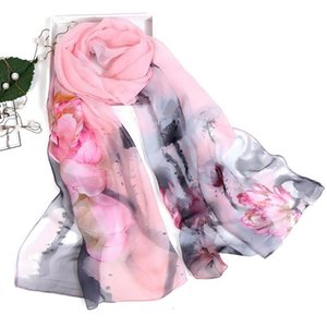 KANCOOLD autumn femme silk Scarves silk scarf scarf women floral Lotus Printing Long Soft Wrap Ladies Shawl veil PSEPO3