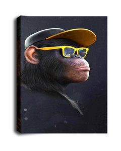 Art Animal Oil Painting Print On Canvas Modern Wall Art Modular Abstract Funny Thinking Monkey Wall Pictures For Living Room Deco
