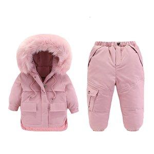 Enfants d'hiver Down Jacket 2019 Vêtements enfants Permet de déterminer 2Pcs Veste + Pantalon 1-4 ans Bébé Filles Garçons d'hiver manteaux en duvet T200917