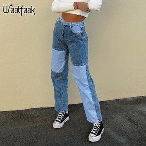 Waatfaak Kontrast Patchwork-Frauen-High Waist Jeans Blau Street Gerade Cargo-Hosen-beiläufige Push Up Denim Jeans Ästhetische Y2k