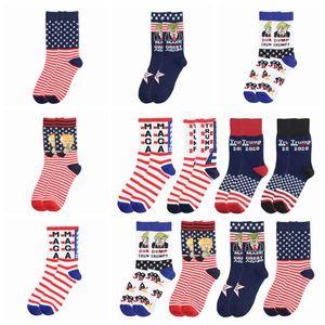 Adult Trump Socks President MAGA Letter Cotton Stockings Striped Stars US Flag Sports Funny Unisex Casual Socks Party Favor Gift LJJP482