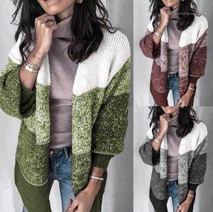 Pullover Casual Women Kleidung 20FW Frauen Pullover Strickjacke Art und Weise Striped Kontrast-Farben-lange Hülsen-lose Knits