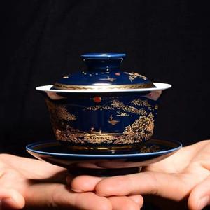 Antique Blue Gaiwan Exquisite flower teacup Big tea bowl for travel easy kettle Vintage tea set tureen