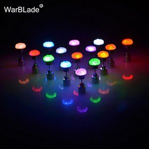 Charm LED Earring Light Up Crown Glowing Crystal Stainless Ear Drop Flat Round Stud Earrings Jewelry For Women Party Accessories