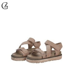 GOXEOU Women's Sandals Khaki Suede Roman Thick Sole Comfortable Casual Beach Shoes