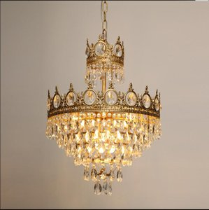 French Brass Crystal Chandelier Bedroom dining room chandelier entrance porch medieval retro bedside aisle Chandelier
