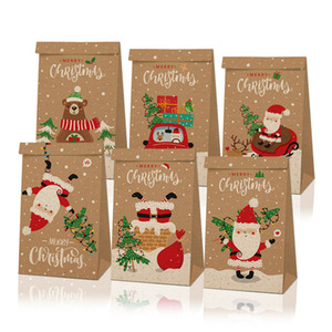 Christmas Gift Bags Vintage Kraft Paper Apples Candy Case Party Gift Xmas Santa Snowman Hand Bag Wrapped Package Decorations