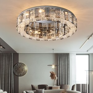 Modern ceiling lights for bedroom smoke gray crystal indoor lighting bedroom E14 round ceiling lamp light Fixtures