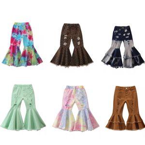 Nuevo 14 colores INS Niños De Arranque Pant Pequeña muchacha de los cabritos dril de algodón Leopard otoño de las muchachas pantalones vaqueros rasgados Die muchacha del lazo de la llamarada de los pantalones de los niños