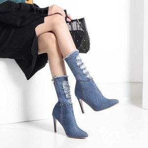 Hot Sale- Plus Size 36-42 Women Heels Boots Female Autumn Knee High Woman Hot Fashion Shoes Black White Leather Boot