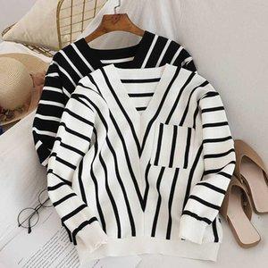 shintimes Полосатый свитер корейской моды для женщин пуловер вязаные длинным рукавом зимние свитера Сыпучие Вытащите Femme nouveauté 2020 Fall