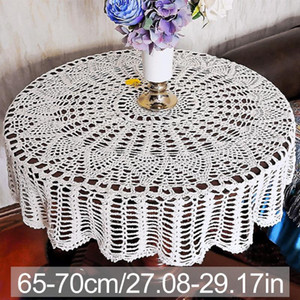 Crochet algodão Toalha de Mesa dobrável Sólidos Vintage Prático macia jantar partido quarto Supplies Redonda Para Casamento Cozinha Home Decor