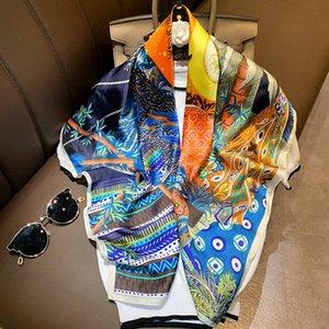 Элегантный шелковый шарф хиджаб для женщин площади шали способа печати Kerchief сатин Глава Шарфы Женский 90 * 90см шеи Scaves для дам 8o5x #