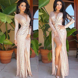 2020 New Sexy V Neck Sheath Split Evening Dresses Sequined Dresses Famous Long Sleeves Party Prom Gowns Celebrity Red Carpet Dresses