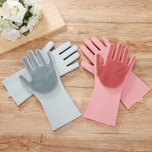 Silicone Dishwashing Gloves Pair of Silicone Scrubbing Gloves for Dishes Wash Cleaning Gloves for Washing Kitchen, Bathroom MY-inf0325