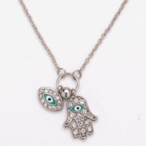 Hands of Fatima Pendant Necklaces Crystal Rhinestone Blue Eyes Pendants Necklace Diamond Evil Eye Necklaces Jewelry
