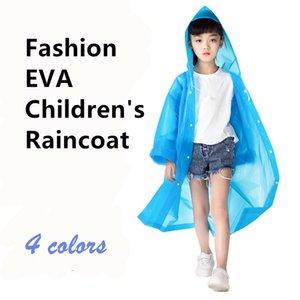 Boy Girl Children Waterproof EVA Transparent Raincoat Kids Hat Clear Rain Coat Outdoor Rainwear 4 Colors