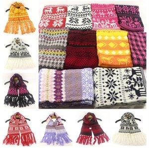Weihnachten Quasten Wolle Langer Schal Schneeflocke Elch-Muster-Knitting Scarfves Outdoor-Teens Ski Nickituch Rechteck-Schal-Ansatz Wraps