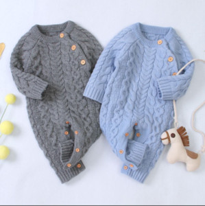 Вязаная Детская одежда с длинным рукавом Новорожденный ребенок Romper Зима Baby Girl Romper Младенческая Комбинезон Мальчик Ромпер малышей свитер