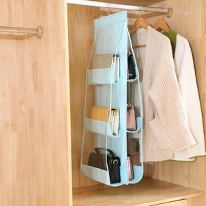 Folding Hanging Hanger Clear Layers Storage Hanger Handbag Organizer Multi Door Sundry Bag Shelf Bag Purse Wardrobe Qhsiu
