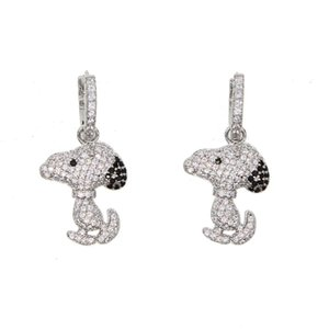 puppy dog charm earring 2018 new arrived european women lovely aminimal design cute dog dachshund CZ silver plated jewelry