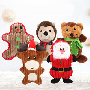 Christmas Pet Plush Vocal Toys Santa Snowman Bear Shaped Pets Molar Bite Toys Puppy Christmas Gifts HHE958