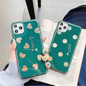 Зеленый Блеск телефон чехол для iPhone 11 Pro Max Polka Dots X Xr Xs Max 7 8 Plus Love Heart Tpu Защитная крышка