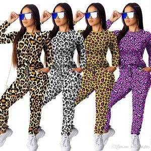 Autumn Spring Women Leopard Suits Home Designer Fashion 2pcs Tracksuits Tshirts Pants