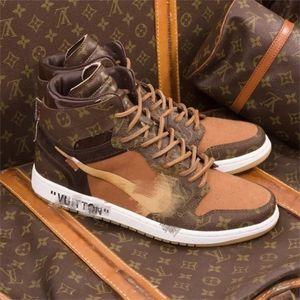 Off Whte x Luis Vutton x Nk Air JRDN 1 couleurs mélangées Retro Concepteurs Sneakers femme Chaussures de basket-ball UNC Chicago Hommes