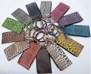 Bracelet Keychain Wallet Leopard Print PU Tassel Pendant Bracelet Bag Lady Clutch Keychain Fashion Wallet 12 Styles EEA2028