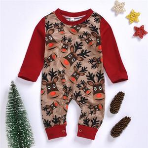 Enfant en bas âge printemps et automne 2020 Vêtements de mode nouveau-nés Vêtements de bébé Garçons Filles Tenues Noël populaire renne bébé Romper One Piece